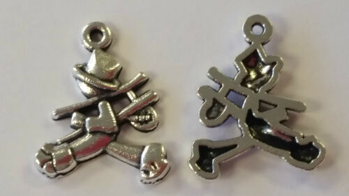 25B 10 FLAT BACK LUCKY SILVER CHIMNEY SWEEP CHARM 18mm Wedding~Wine Glass~Cards
