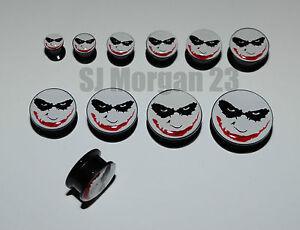 Batman-039-s-Joker-Ear-Ring-Plug-Stretcher-in-Sizes-6-8-10-12-14-16-18-20-22-25-mm