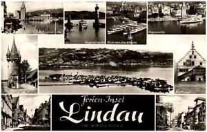 Lindau im Bodensee Mehrbildkarte 1960 Rathaus Diebsturm Hauptstraße Hafenpartie