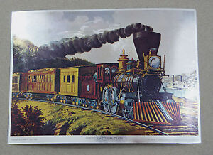 Details about Vintage Currier and Ives American Express Train Color Foil  Etch Print