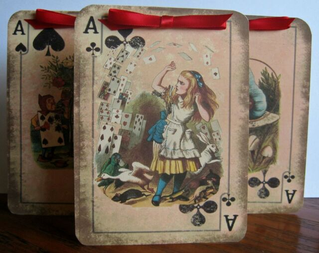 Alice in Wonderland 8 Large playing Card tent card party favor table decoration