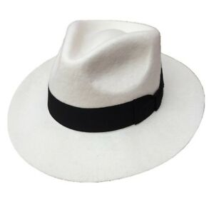 Image is loading White-Fedora-Hat-Wool-Felt-Godfather-Gangster-Hats- ab81daa7833