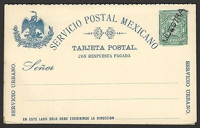 Mexico 1c+1c postal stationery reply postcard overprinted MUESTRA