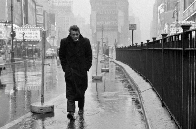 Classic Hollywood Picture James Dean Walking the Rainy Streets Framed Print