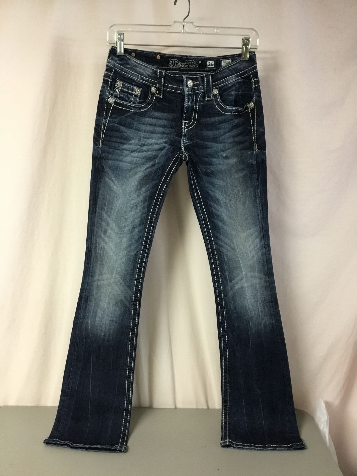 Women's Miss Me Boot Cut Jeans Size 26 x 33.5  Dark bluee P
