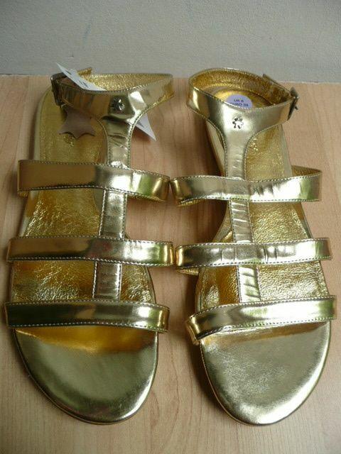Leder Sandale Gladiator Stil mit Riemchen Metallic Gold Gr 38,5-39