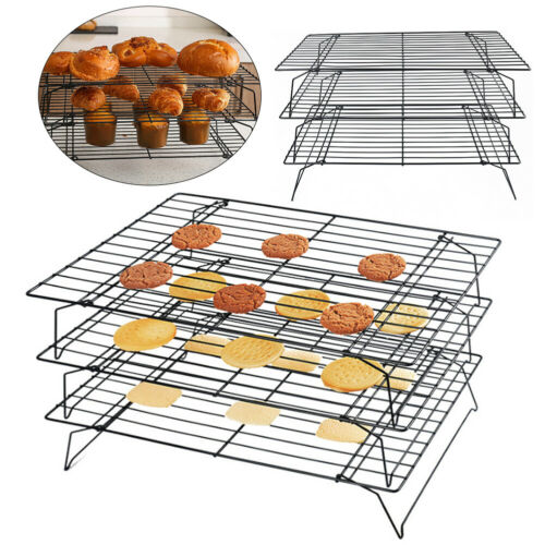 3 Tier Wire Cooling Rack Tray Nonstick Stackable Oven Cake Baking Shelf Holder