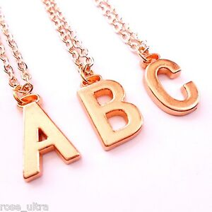 fd3ac45d20993 Details about Rose Gold Initial Necklace, Personalised Alphabet Letter  Pendant Chain Plated UK
