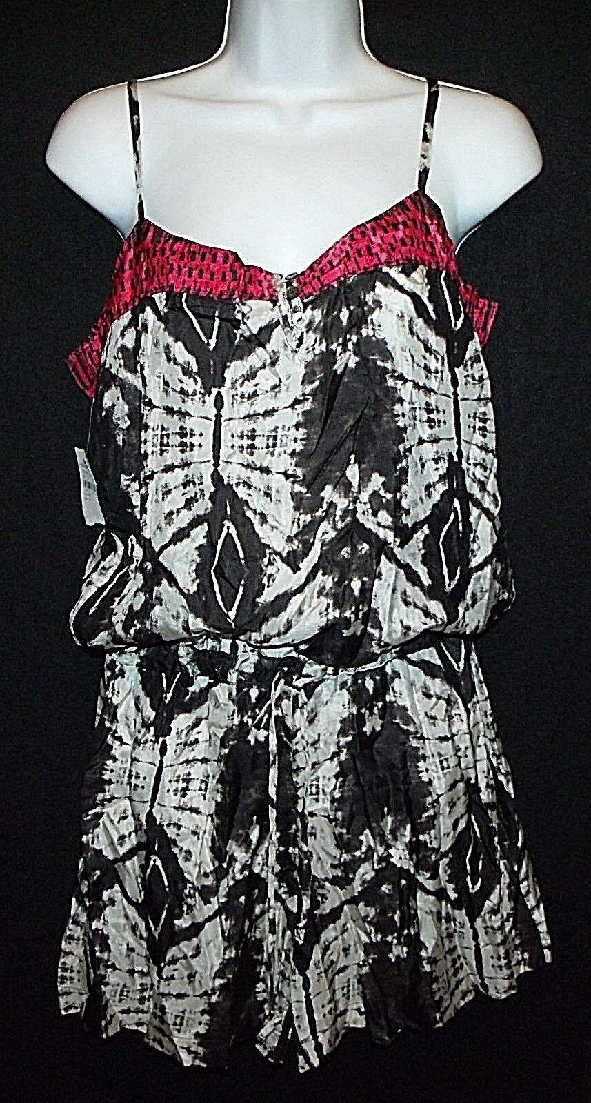 New DA-NANG Nordstrom printed 100 silk short romper evil eye B W batik tie dye M