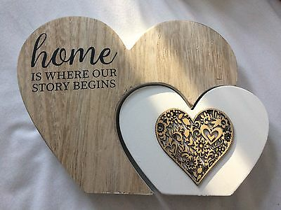 """Shabby Chic Double Wooden Heart Block """"Home Is Where Our Story Begins"""""""