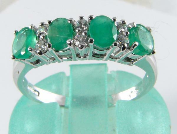 ENGLISH 9CT WHITE gold COLOMBIAN EMERALD & DIAMOND ETERNITY RING FREE RESIZE