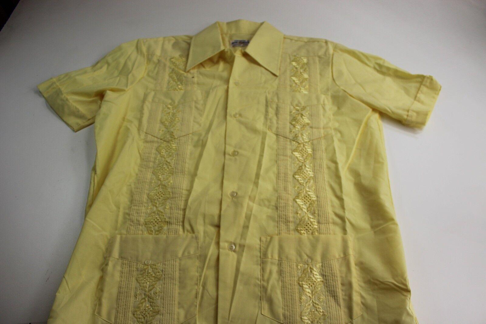 VTG MINT Don Romeo Sunshine Yellow Stitched Guayabera Shirt large L Slim