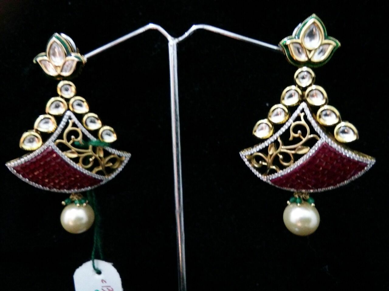 Traditional kundan wedding earring for women fashion jewelry color pink