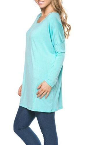 Women/'s Long Sleeve Boat Neck Tunic Top Bamboo Loose Fit T-Shirt Solid S M L