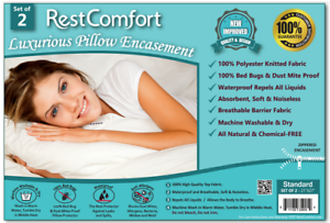 2-WHITE-HOTEL-HYPOALLERGENIC-PILLOW-CASE-ZIPPERED-BED-BUG-MITE-PROTECTOR-COVERS