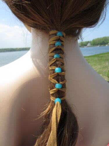 Beaded Hair Wrap Ponytail Holders Leather Tie Native American BOHO Hair Jewelry