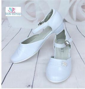 Girls-White-Flower-Shoes-Communion-Formal-Dress-Shoes-Party-Wedding-Bridesmaid