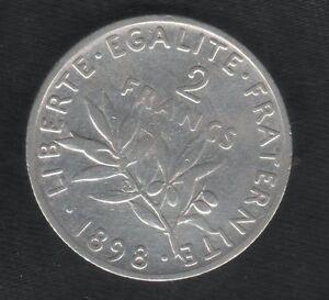 FRANCIA-2-FRANCHI-1898-MB-FRANCS-KM-845-1-ARGENTO-republique-francaise-mrm