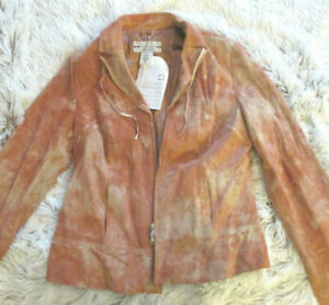 HELLINE-Vintage-Echt-Lederjacke-in-stylischer-Batikoptik-rost-Gr-38-NEU-239-90