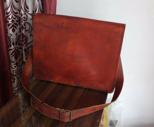 """Men/'s Vintage Leather Full Flap Messenger Laptop Satchel Shoulder 18/"""" Bag New"""