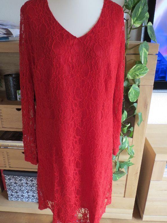 Hammer-Kleid KRETSCHMER Spitzenkleid rot, Gr. 50, lange Ärmel, NEU