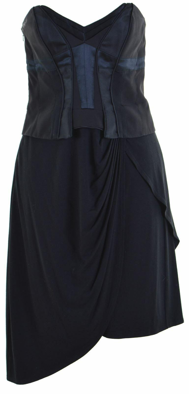 KAREN MILLEN damen Strapless Dress Small schwarz Viscose  GS06