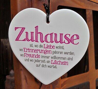 Porzellan Herz 15cm mit Spruch Zuhause ist wo die Liebe wohnt weiß Geschenk Deko