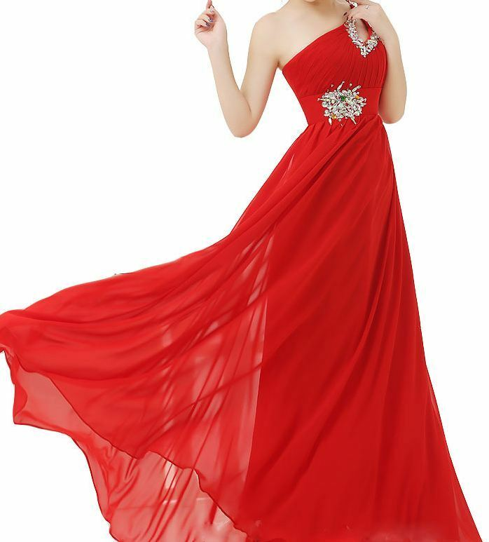 Abito donna monospalla monospalla monospalla lungo damigella cerimonia vestito ballo sera o stola 5873b7
