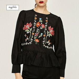 AU-seller-Boho-causal-black-floral-embroidered-long-sleeve-peplum-blouse-top