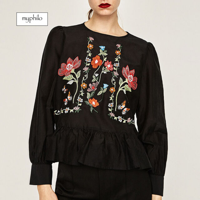AU seller - Boho causal black floral embroidered long sleeve peplum blouse top