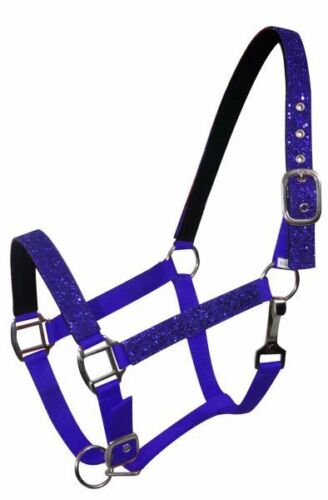 Showman Pony Nylon Padded Halter with Glitter Overlay on Nose and Cheeks