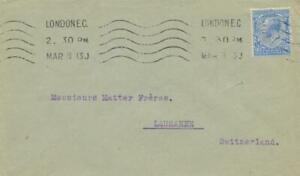 "GB 1913 gv 2 1/2 D Raro Perfin ""un F/& Co"" (Adolph Frankau & Co., Londres CE) CVR"