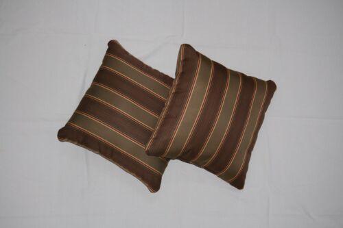 Throw Pillows Sunbrella Davidson Redwood 5606 Set//2 Brown Striped Square Acryl