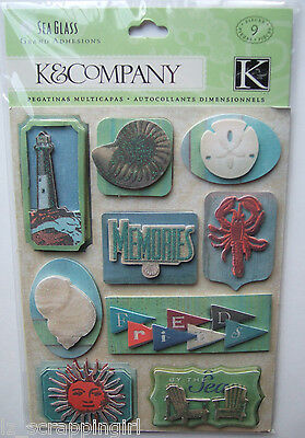 ~SEA GLASS SEASHORE GRAND ADHESIONS~ Dimensional Stickers K & CO Company; BEACH