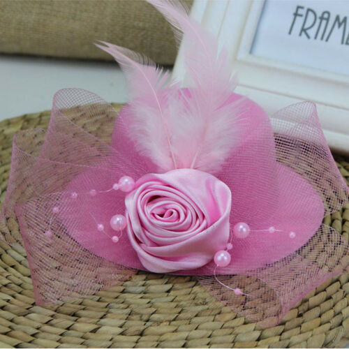 Girls Child Flower Hat Mesh Hairpin Fascinator Wedding Party Hairclip Accessory