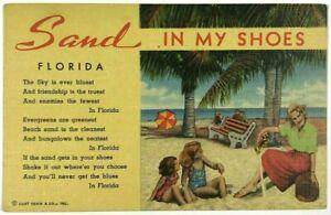 Sand-In-My-Shoes-Cypress-Gardens-Florida-FL-Family-Kids-Beach-Linen-Postcard