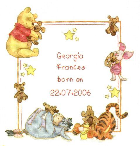 Pooh y Teddy Sampler Nacimiento B//W cross stitch chart buy 1 Get 1 Mitad De Precio