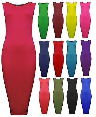Womens Block Colour Bodycon Sleeveless Midi Dress Navy Red Ladies New Sz 8-14