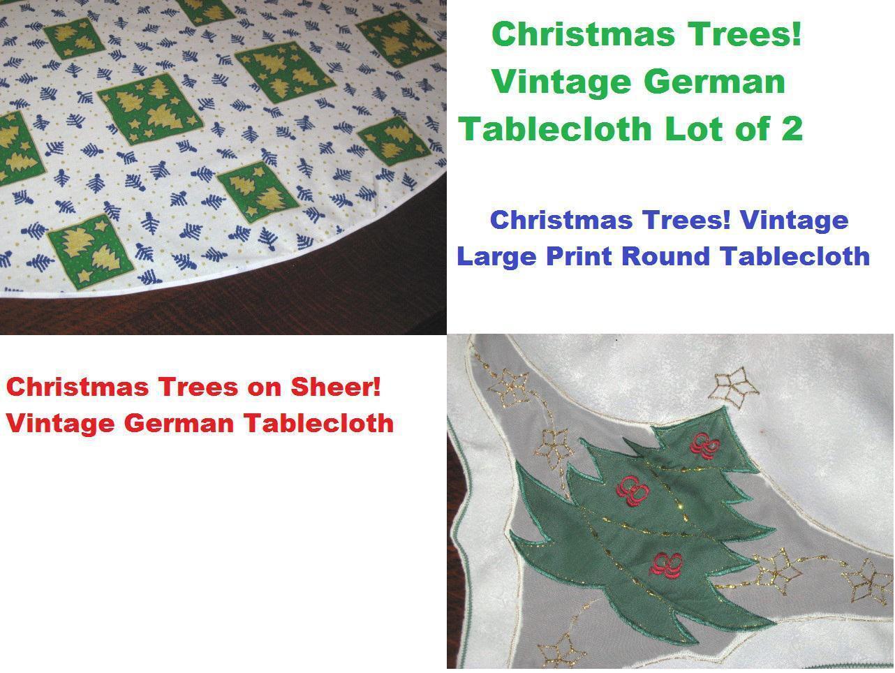 CHRISTMAS TREES  VTG GERMAN DAMASK TABLECLOTH + LARGE ROUND PRINT TABLECLOTH