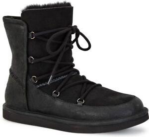 c6a8d76de40 Details about UGG Lodge women's Waterproof Suede Fur-Lined Lace-Up Boots  Black Sz 7 NIB $200
