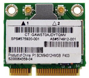 HP Broadcom BCM94312HMG BCM4312 WiFi Wireless Half Size Mini PCI-E Card 575920