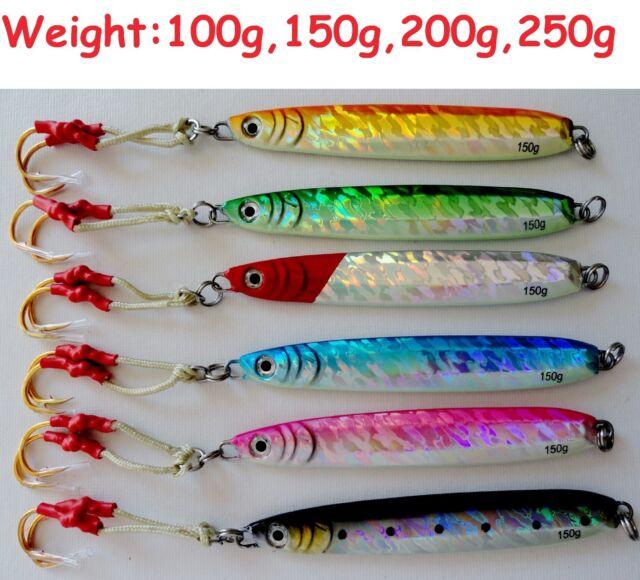 "gypsy lures saltwater speed jig 200g 7oz blue mackerel butterfly jig 8/"" long"
