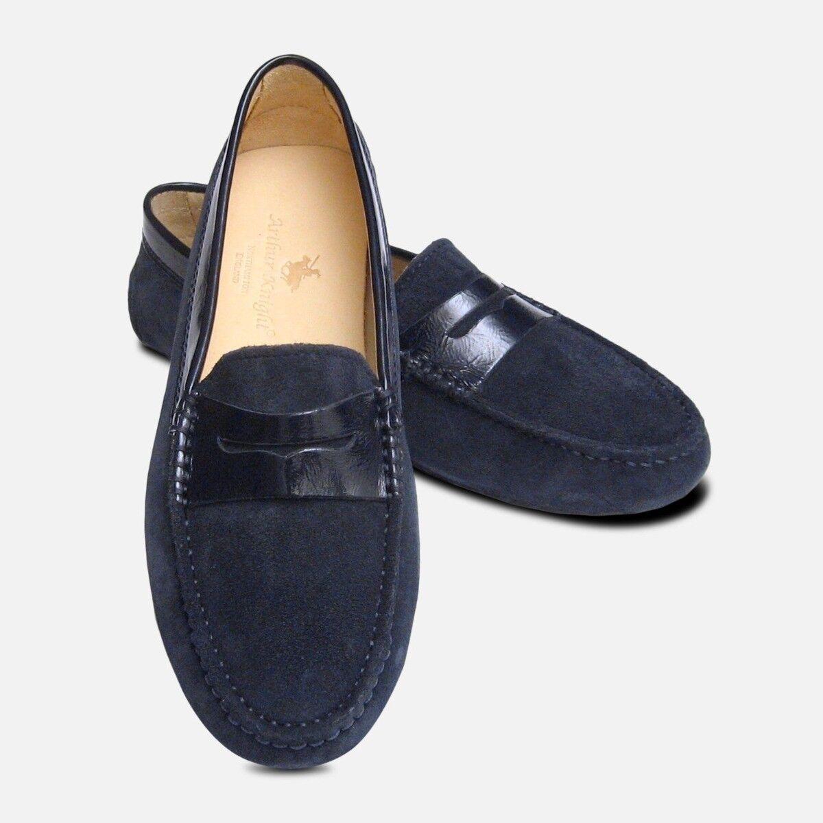 negozio di moda in vendita Navy blu Suede & BREVETTO BREVETTO BREVETTO Arthur Knight Donna Scarpe di guida italiano  fino al 50% di sconto