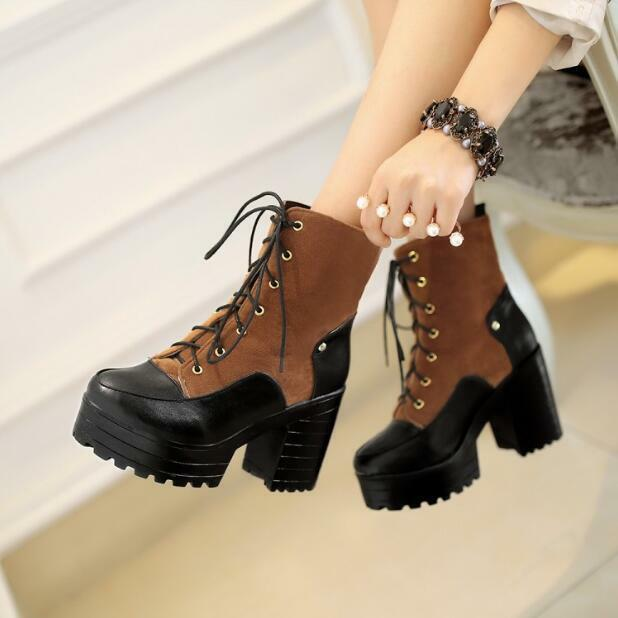 Womens Mixed color Chunky Heel Platform Lace Up Ankle Boots Suede shoes Sz35-43
