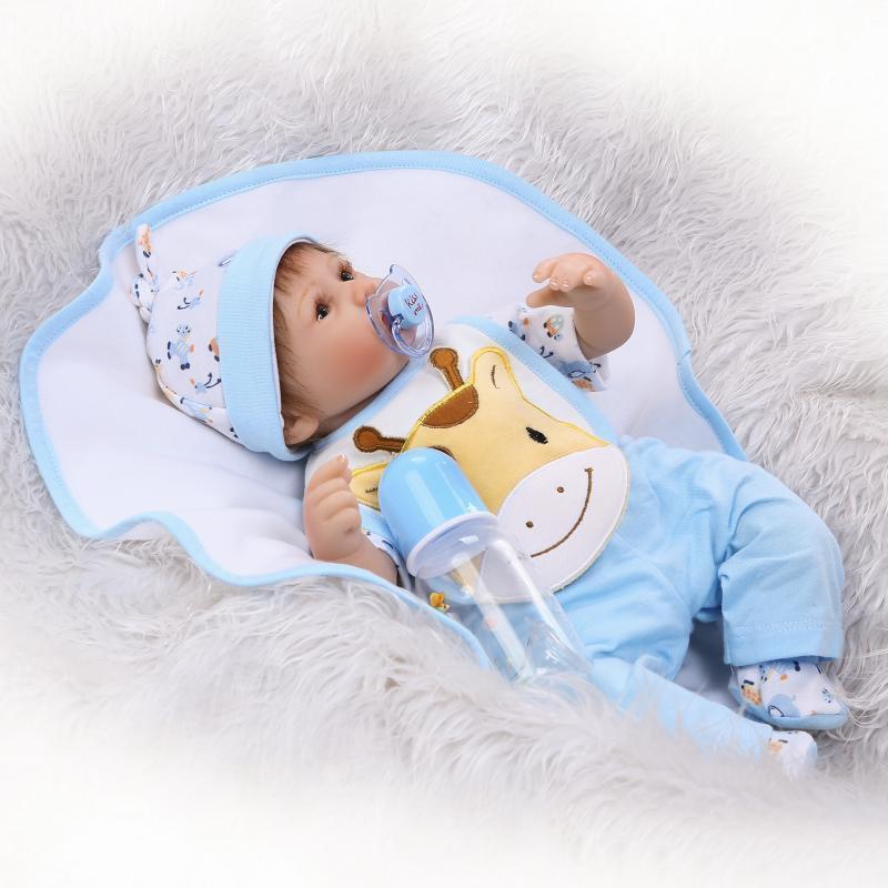 17 Pulgadas Hecho a Mano Muñeca Bebé Niño Reborn Silicona Vinilo recién nacido realista Juguetes Regalos