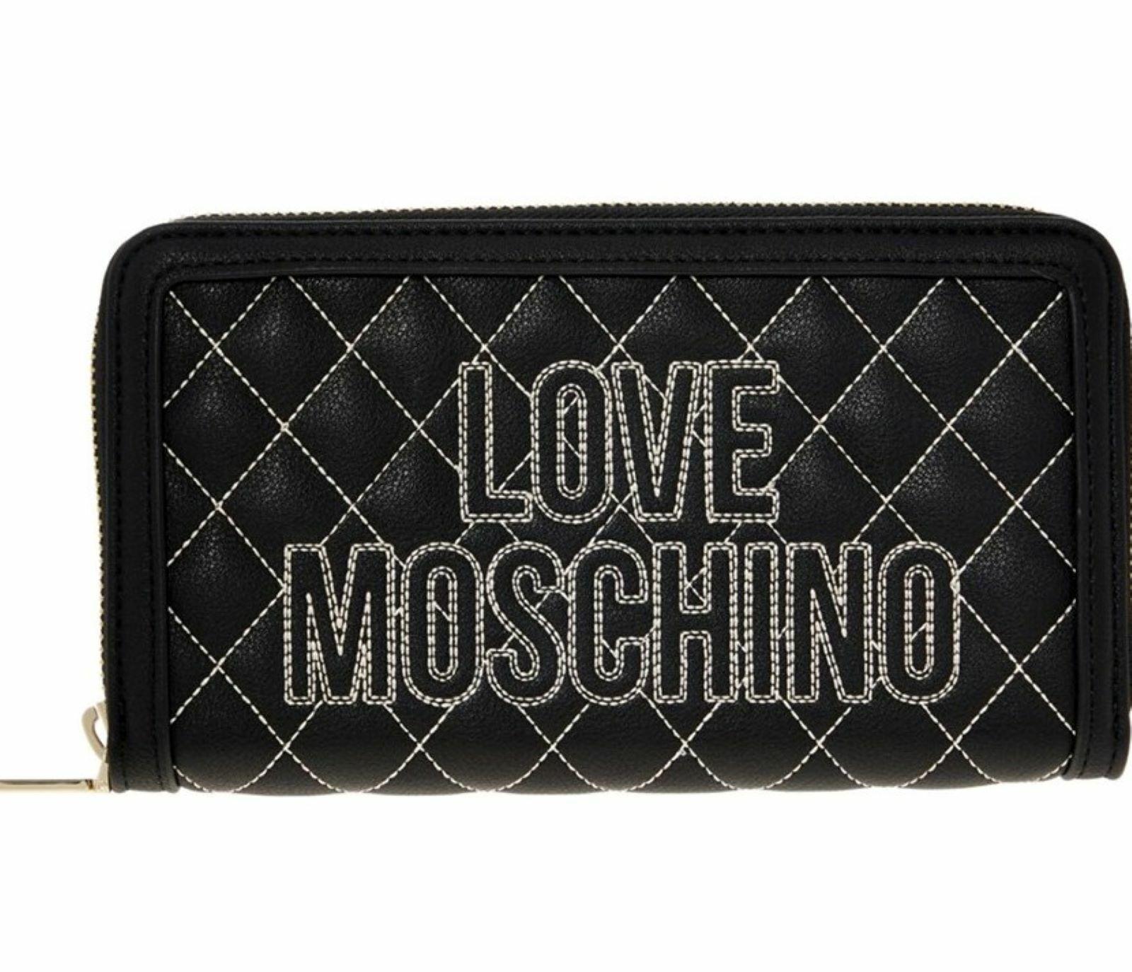 Love Moschino Black Zip-around Logo Purse New Wallet