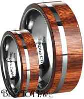 His And Hers Tungsten Carbide Koa Wood Inlay Wedding Engagement Ring Set