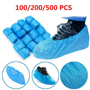 200Pcs Anti Slip Disposable Shoe Cover Plastic Cleaning Overshoes Boot Safety UK