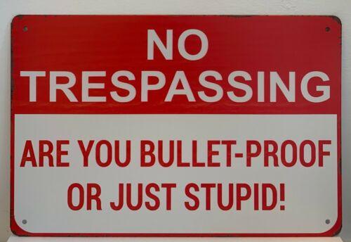 Metal Tin Sign No Trespassing Bulletproof Stupid Quotes Retro Wall Signs Plaques