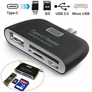 USB-C USB3.1 Type C to USB Micro USB OTG Hub Adapter Connector TF Card Reader TH